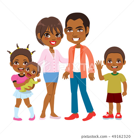 Cute Smiling African American Family 49162320