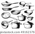 Set of frying pan and different pots 49162376