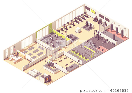 Vector isometric fitness club or gym interior 49162653