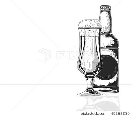 Bottle of beer. Glass with beer. 49162850