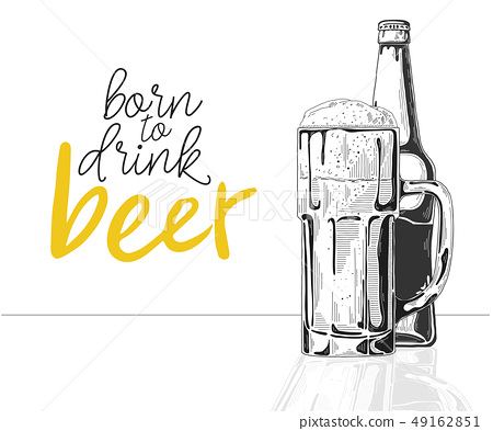 Bottle of beer. Glass with beer. 49162851