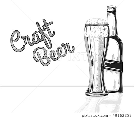 Bottle of beer. Glass with beer. Craft beer. 49162855