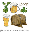 Sketches of hop plant, wood barrel and beer mugs 49164294