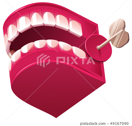 Funny denture clockwork jaw surprise toy isolated 49167090
