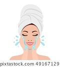 Beautiful woman in process of washing face 49167129
