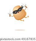 vector cartoon ninja potato character with black super hero mask and ninja knife sai isolated on 49167835