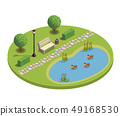 City Park Isometric Round Composition 49168530