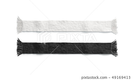 Blank black and white knitted scarf mockup set,  49169413