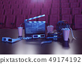 3D illustration of popcorn, drinks, clapperboard, filmstrip and two tickets. Cinema concept wtih 49174192