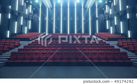 Cinema hall with blank screen and empty seats. Modern design with striking lighting, neon lighting 49174292