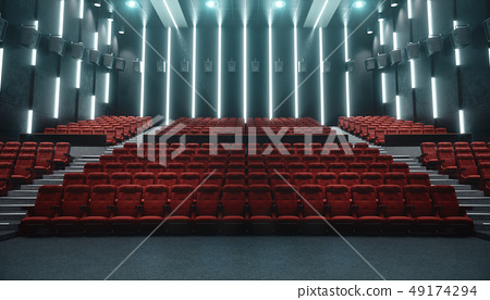 Cinema hall with blank screen and empty seats. Modern design with striking lighting, neon lighting 49174294