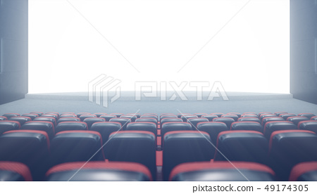 Cinema hall with blank screen and empty seats. Modern design with striking lighting, neon lighting 49174305