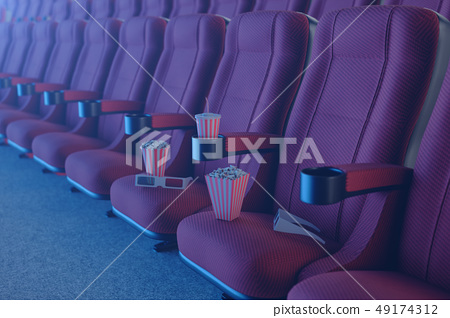 3D illustration with 3d glasses, popcorn, cup with a drink. Cinema concept wtih blue light. Red 49174312