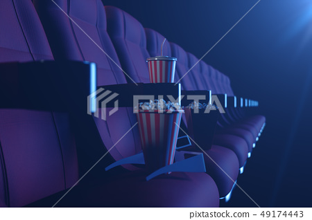 3D illustration with popcorn, 3d glasses and chairs, with blue light. Concept cinema hall and 49174443
