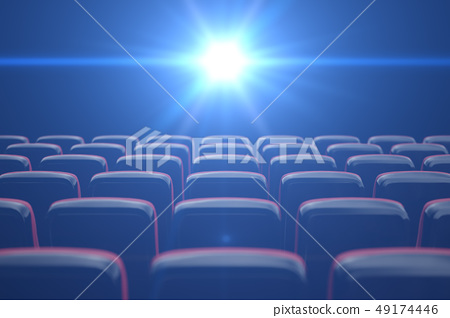 Concept cinema, shining blue color in movie theater. Rows of chairs with empty seats. 3d 49174446