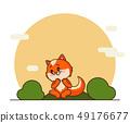 Cute litttle red fox in cartoon style. 49176677
