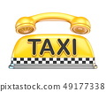 Taxi sign with telephone handset 3D 49177338