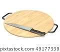 Cutting board with knife 3D 49177339