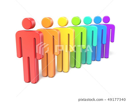 Rainbow colored abstract figures in a row 3D 49177340