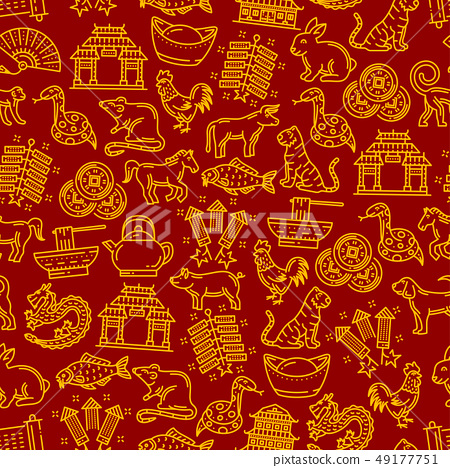 Chinese horoscope signs seamless pattern 49177751