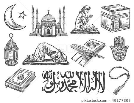 Islam religion symbols and cultural icons isolated 49177802