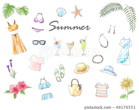 手拉的水彩例證夏天集合 49178551
