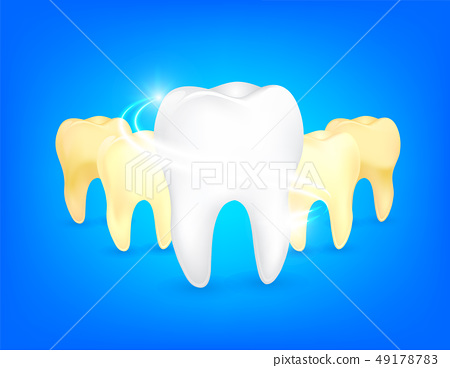 Set of clean and dirty tooth.  49178783