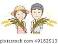 쌀 농가 상반신 남녀 시니어 49182913