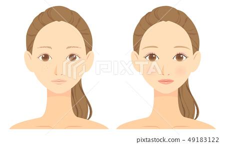 여자의 얼굴 화장 전후 이미지 01 49183122