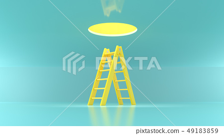 Ladder yellow pastel color for climbing upstairs. 49183859