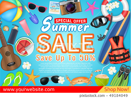 summer sale special offer deal  promotion poster  49184049