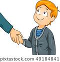 Kid Boy Greet Shake Hands Illustration 49184841
