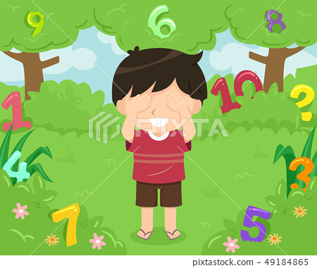 Kid Boy Hide Seek Numbers Illustration 49184865