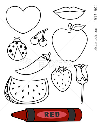 Color Red Coloring Book Illustration 49184904