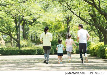 가족 조깅 야외 친자 이미지 49186235