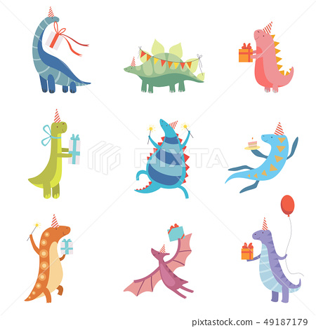 Collection of Cute Colorful Dinosaurs in Party Hats, Funny Blue Dino Characters, Happy Birthday 49187179