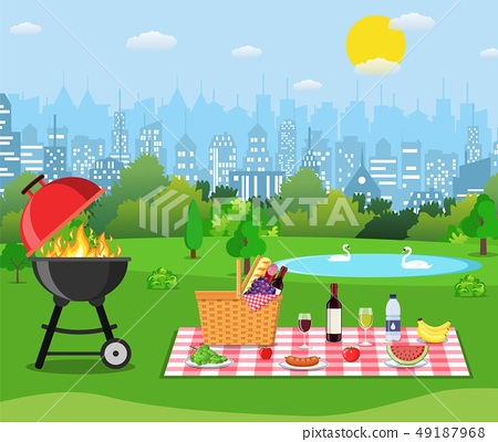 Summer picnic concept with basket, 49187968
