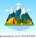 tent, campfire, mountains, forest and water. 49187985