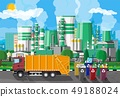 Urban cityscape with garbage car and factory 49188024