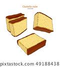 Japanese sponge cake - castella. Hand draw sketch 49188438