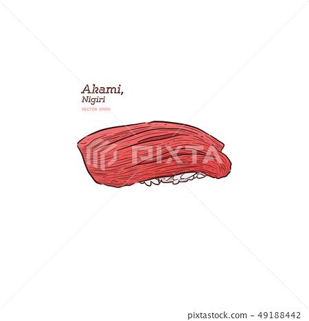 Maguro  (Akami) Nigiri Sushi, Japanese Food. 49188442