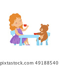 Cute Little Girl Playing With Her Teddy Bear at Tea Party Vector Illustration 49188540