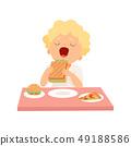Cute Boy Eating Sandwich, Kid Enjoying Eating of Fast Food Vector Illustration 49188586