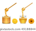 Honey dripping from dipper in glass jar vector 49188844