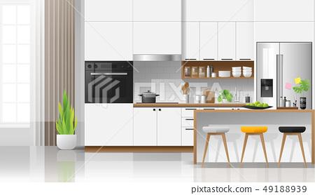 Modern white kitchen interior background 49188939