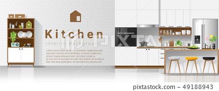 Modern white kitchen interior background 49188943