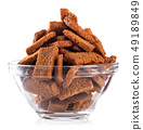 Rye crackers snacks in transparent plate 49189849