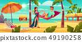 Couple resting on tropical resort cartoon vector 49190258