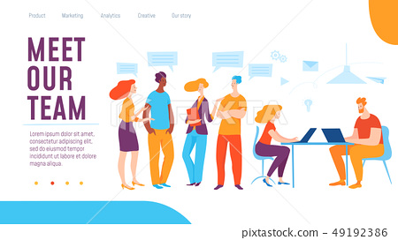 Vector meet our team concept creative business illustration with working people.  49192386