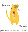 Funny yellow cat singing in microphone. 49193737